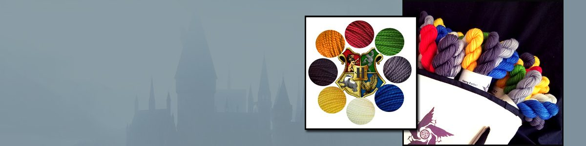 Picture of mini skeins in Hogworts house colorways
